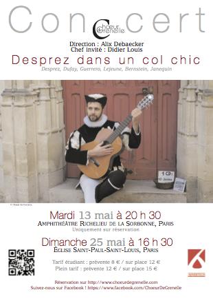 « Desprez dans un col chic » – Didier Louis, chef invité ! Nouveaux concerts les 13 et 25 mai.