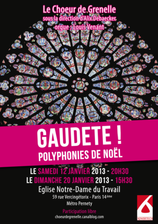 Gaudete ! – Concerts des 12 & 20 janvier 2013 – Notre Dame du Travail